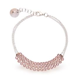 Stylish Zilveren Armband met Roze Swarovski Kristallen