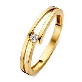 Excellent Jewelry Geelgouden Gespleten Ring met Zirkonia