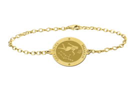 Gouden Armband met Ovaalvormige Maagd Sterrenbeeld Naamhanger > Names4ever