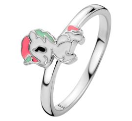 Zilveren Eenhoorn Ring met Emaille