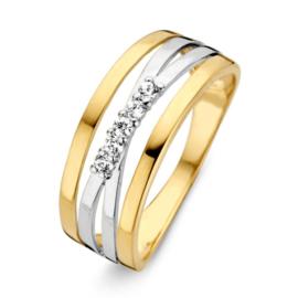 Excellent Jewelry Bicolor Opengewerkte Ring met Zirkonia's