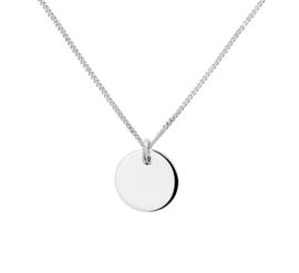 Zilveren Initial Munt Hanger + Gourmet Collier | Tekst
