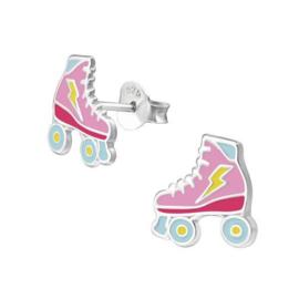 Zilveren Rolschaats Kinderoorbellen met Gekleurde Emaille