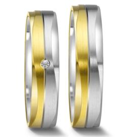 Vlakke Zilveren met 9 Karaats Trouwringen Set met Diamant