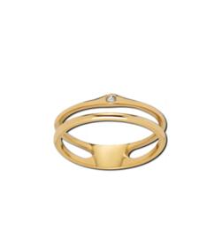 Goudkleurige Dubbele Ring met Zirkonia van M&M