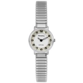 Prisma Zilverkleurig Dames Horloge met Rekband