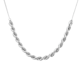 Prachtige Zilveren Collier met Anker- en Koordschakels