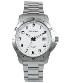 Zilverkleurig Horloge voor Heren met Witte Wijzerplaat en Zwarte Cijfers