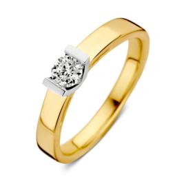 Excellent Jewelry Vlakke Gouden Ring met Kleurloze 0,30 crt. Briljant