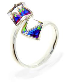 Ring met Dubbele Regenboog Swarovski Kubus van Spark