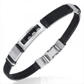 Armband combinatie met zwart rubberen ringetjes