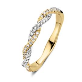 Excellent Jewelry Bicolor Ring met Gedraaide Stroken en Briljanten