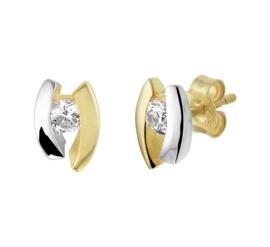 Gouden Oorknoppen met Kleurloze Zirkonia