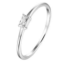 Slanke Ring van Zilver met Rechthoekige Zirkonia