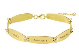 Names4ever Gouden Armband met Zeven Naamplaatjes GNA61