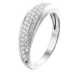 Gepolijst Zilveren Ring met Kleurloze Zirkonia Voorkant