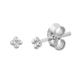 Vier Bolletjes Oorknoppen van Gerhodineerd Zilver
