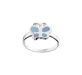 Zilveren Ring voor Kinderen met Blauwe Parelmoer Vlinder