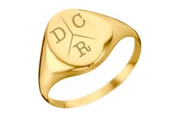 Gouden Ovale Zegelring met Drie Initialen | Names4ever