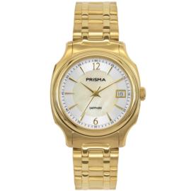 Prisma Goudkleurig Dames Horloge met Parelmoer Wijzerplaat