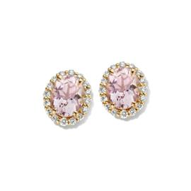 Excellent Jewelry Gouden Oorstekers met Morganiet en Diamanten