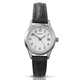 Klassiek Zilverkleurig Dames Horloge van Sekonda met Zwarte Band