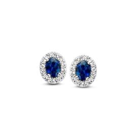 Excellent Jewelry Witgouden Oorstekers met Briljanten en Saffier