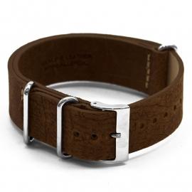 Horlogeband UH14 Leren Nato Band M. Bruin 22x22mm