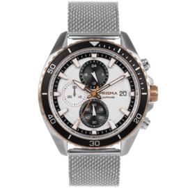 Prisma Modern Zilverkleurig Heren Horloge met Zwarte Rand