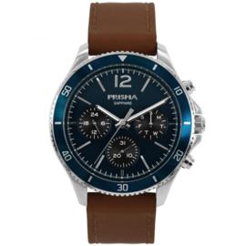 Prisma Zilverkleurig Heren Horloge met Blauwe Accenten