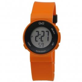 Q&Q digitaal horloge met oranje kunststof horlogeband