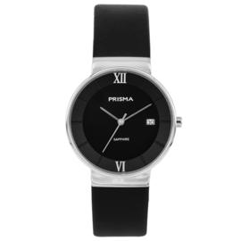 Prisma Zilverkleurig Dames Horloge met Brede Zwart Lederen Horlogeband