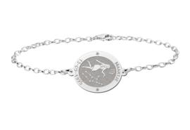 Zilveren Names4ever Armband met Ovaalvormige Maagd Sterrenbeeld Naamhanger