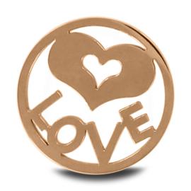 LOCKits Roségoudkleurige Munt met LOVE Tekst en Hart