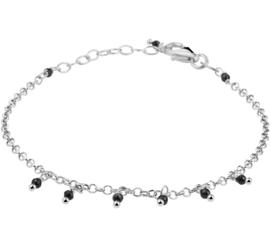 Zilveren Armband met Schakels en Zwarte Strass-steentjes