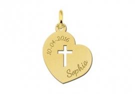 Names4ever Heilige Communie Gouden Hart Hanger met Kruis