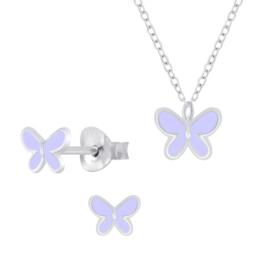 Zilveren Vlinder Oorbellen en Ketting Set