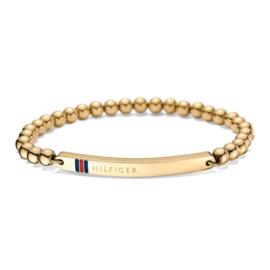 Goudkleurige Bolletjes Armband met Langwerpig Plaatje van Tommy Hilfiger TJ2700787