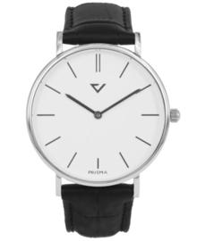 Opvallend Zilverkleurig Horloge met Zwart Lederen Horlogeband