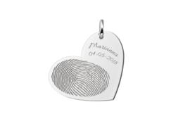 Hartvormige Hanger met Vingerafdruk en Tekst van Zilver Names4ever