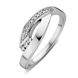Excellent Jewelry Witgouden Ring met Kleurloze Zirkonia's