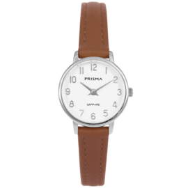 Prisma Edelstalen Dames Horloge met Bruin Lederen Horlogeband