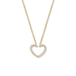 Excellent Jewelry Gouden Collier met Opengewerkt Hart en Diamanten