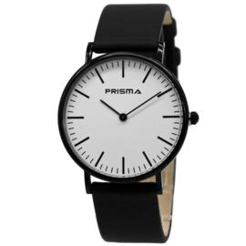 Prisma Verfijnd Zwart Dames Horloge met Zwarte Horlogeband