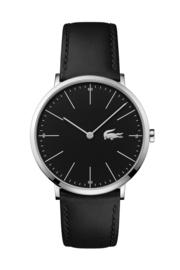 Lacoste Zilverkleurig Moon Heren Horloge met Zwart Lederen Band