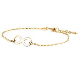 Goudkleurige Armband van Zilver met Infinity Teken