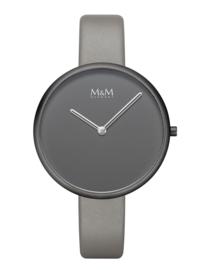 M&M Horloge met Zwarte Kast en Grijze Wijzerplaat