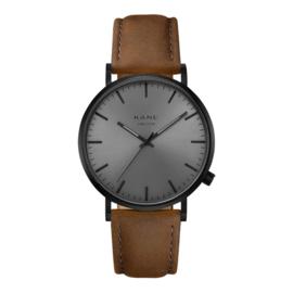 Zwart KANE Horloge met Bruine Lederen Horlogeband