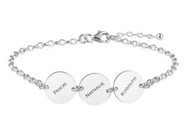 Names4ever Zilveren Armband met Drie Rondjes ZNA66