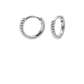 Zilveren Oorringen met Gedraaid Oppervlak | Karma Jewelry